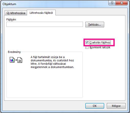 """A """"Létrehozás fájlból"""" lapon jelölje be a """"Csatolás fájlból"""" jelölőnégyzetet."""