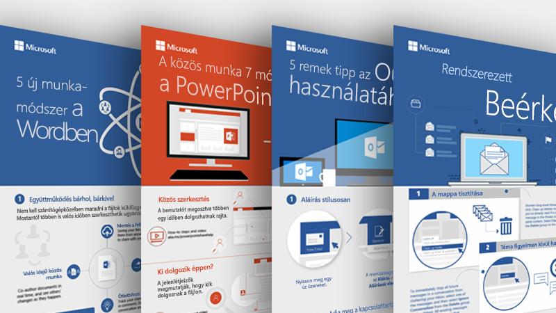 Az Outlookhoz, a Wordhöz és a PowerPointhoz készült infografikák