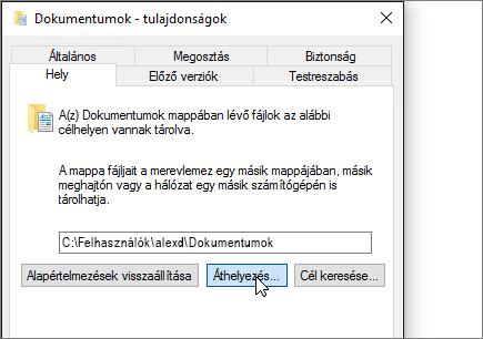 Képernyőkép, mely szemlélteti a dokumentumok tulajdonságai menü a Fájlkezelőben.