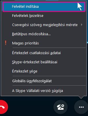 Kattintson a Skype Vállalati verziós értekezlet közben a Rögzítés indítása parancsra