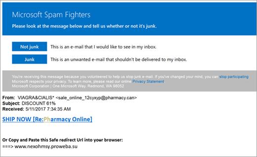 A levélszemét Fighters e-mailt képernyőkép