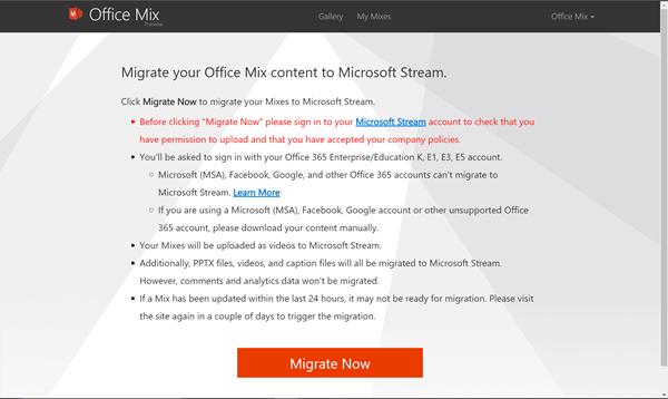 Kattintson a Migrate now gombra a mixek Office Mix webhelyről Microsoft Streambe való áttelepítéséhez.