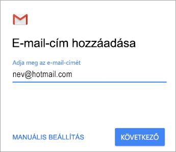 E-mail-cím felvétele