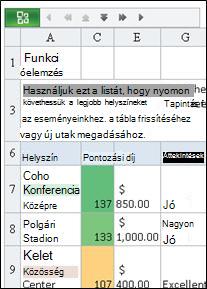 Az Excel mobil megjelenítője