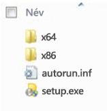 A 64 bites telepítésű Office 2010 platformválasztójának mappaszerkezete.