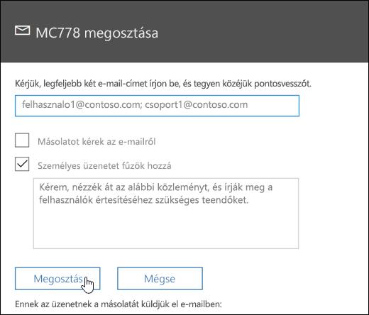 Képernyőkép: az üzenet képernyő megosztása