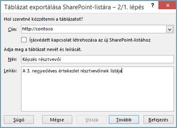 A Táblázat exportálása SharePoint-listára varázsló