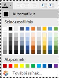 Az asztali Windows Excel Betűszín menüje.