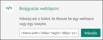 A Másolás gombbal másolhatja a beágyazott kódot, amelyet ezután beilleszthet egy weblapra.