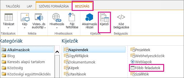 Képernyőkép, amely bemutatja, hogy hogyan lehet felvenni a Főbb feladatok kijelzőt