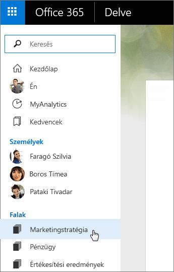Képernyőkép a Delve bal oldali ablaktábláján lévő Falak listáról