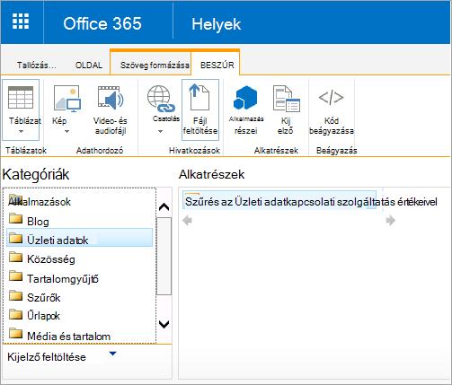 Az Excel Web Access kijelző nem szerepel az üzleti adatok kategóriára