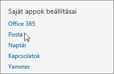 Képernyőkép az Outlook Web App Beállítások lapjának Saját appok beállításai szakaszáról, ahol a kurzor a Levelek elemre mutat