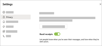 Lépjen a beállítások > adatvédelmi > olvasási visszaigazolás a Teams alkalmazásban elemre.