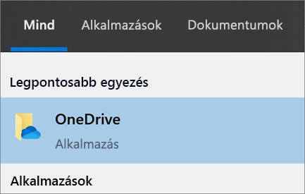Képernyőkép: a OneDrive asztali app keresése Windows10-ben