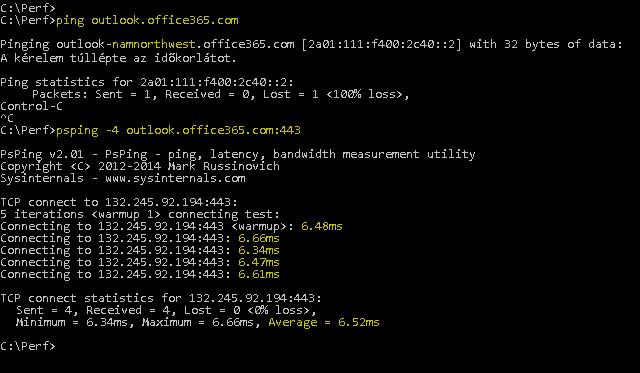 Az outlook.office365.com címet feloldó pingelés és az ugyanazt végrehajtó PSPing parancs a 443-as porttal, ugyanakkor 6,5 ezredmásodperces átlagos üzenetváltási idővel.