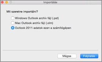 Az Outlook 2011-adatok ezen a számítógépen elem kiválasztva az Importálás képernyőn