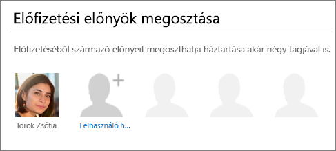 """Képernyőkép: """"Az előfizetés előnyeinek megosztása"""" szakasz """"Az Office 365 megosztása"""" lapon, ahol a """"Felhasználó hozzáadása"""" hivatkozás látható."""