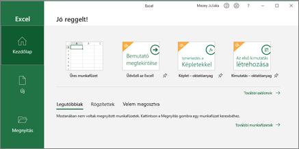 Excel – munkafüzet létrehozása