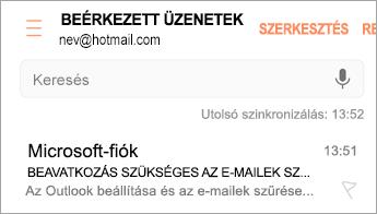 A szükséges műveletről tájékoztató e-mail megnyitása