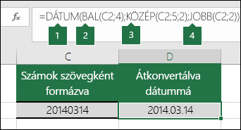 Szöveges karakterláncok és számok dátummá alakítása