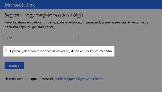Képernyőkép a megbízható eszköz párbeszédpaneléről