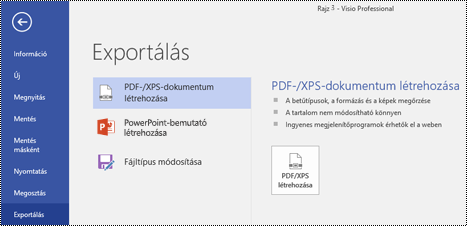 A Visio Fájl lapjának PDF exportálása parancsa.