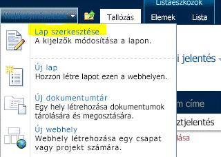 A Webhelyműveletek menü Lap szerkesztése parancsa