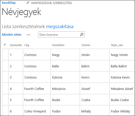 SharePoint-lista hat névjegyrekorddal