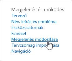 Webhely beállításai Megjelenés és működés csoportban a kiemelt megjelenésének módosítása