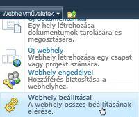 A Webhelyműveletek menü Webhely beállításai parancsa