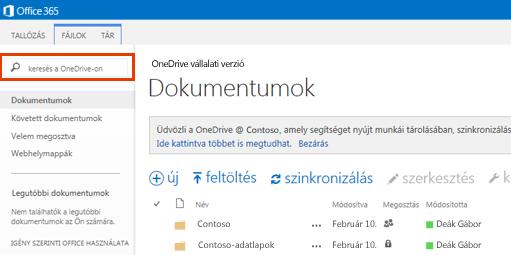 Képernyőkép: a OneDrive keresőmezője az Office365-ben.