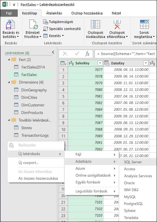 Excel Power BI – Új helyimenü-elem új lekérdezések létrehozásához a Lekérdezésszerkesztő Lekérdezések munkaablakából