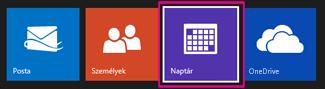 Az Outlook.com főmenüje – naptár kiválasztása