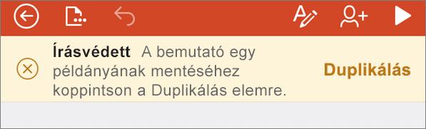 Írásvédett állapotot jelző üzenet egy ODF-fájl iPhone PowerPointban való megnyitása után