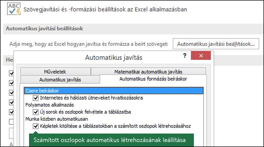"""Kapcsolja ki a számított táblázatok oszlopait a fájl > Beállítások > nyelvi ellenőrző eszközök > Automatikus javítási beállítások > területen törölje a """"A Képletek kitöltése a táblázatokban a számított oszlopok létrehozásához a""""."""