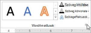 Jelölje ki a WordArt-stílusok párbeszédpanel-megnyitó ikon