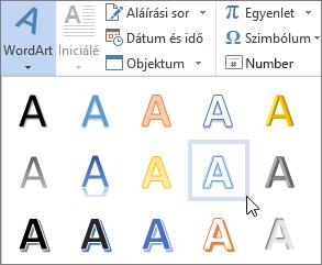 WordArt-beállítás választása