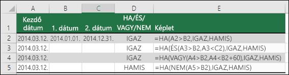 Példák a HA függvény használatára az ÉS, a VAGY és a NEM függvényekkel dátumok kiértékeléséhez