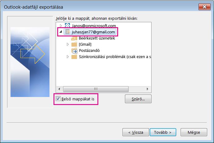 Válassza ki az importálni kívánt Gmail-fiók nevét