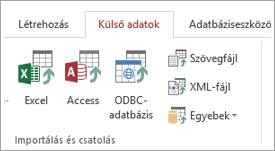"""Access """"külső Data"""" lap"""