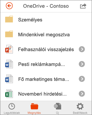 OneDrive-fájlok az Office Mobile-ban