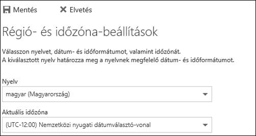 Képernyőkép: a nyelv és az aktuális időzóna kiválasztása