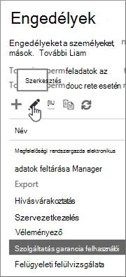 A Szolgáltatásminőség-biztosítási felhasználó szerepkör kijelölése, majd a szerkesztés ikon választása.