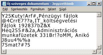 Jelszólista Jegyzettömb-fájlban