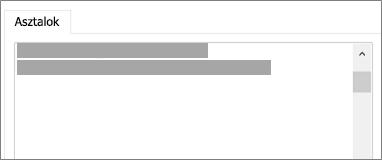A csatolandó vagy importálandó táblák listája