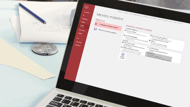 Laptop képernyője, amelyen éppen egy Access-adatbázis mentése van folyamatban.
