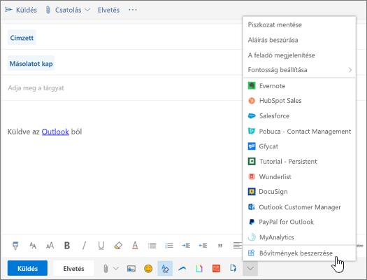 Egy e-mailt ábrázoló képernyőkép, a Bővítmények beszerzése parancs ki van jelölve rajta.