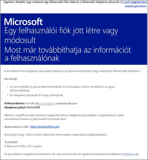 Minta e-mail üzenet Office365-ös fiók- és bejelentkezési információval