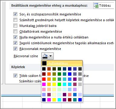 Rács színbeállítások, az Excel beállításai párbeszédpanel
